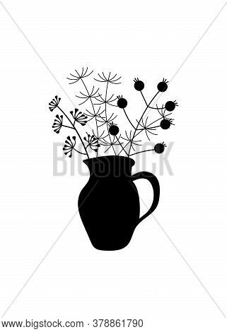 A Bunch Of Herbs And Twigs With Berries In A Vase. Silhouettes Of Simple Twigs, Plants, Herbarium.