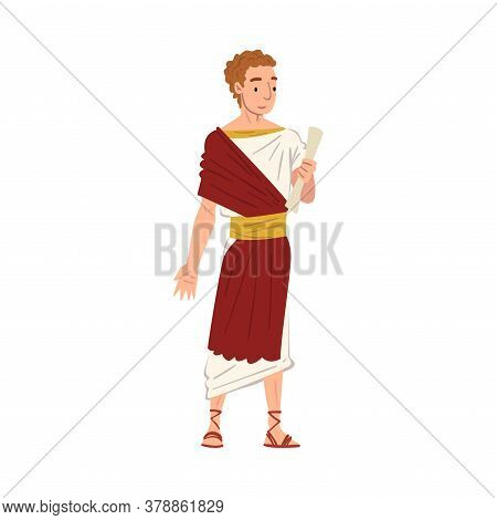 Roman Senator In Traditional Clothes, Ancient Rome Citizen Character In White And Red Tunic And Sand
