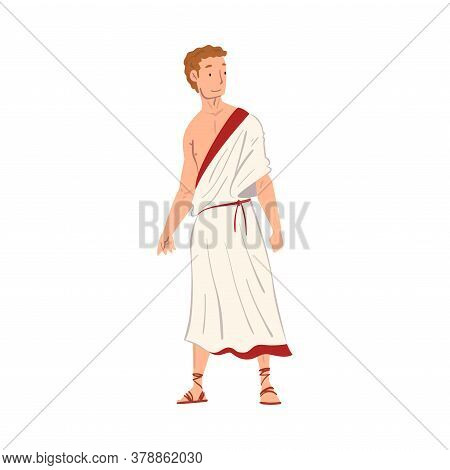 Roman Man In Traditional Clothes, Ancient Rome Citizen Character In White Tunic And Sandals Vector I