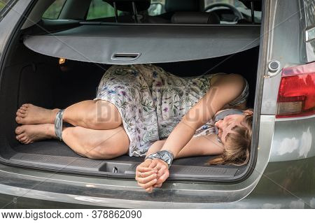 Woman With Tied Hands Inside Car Trunk - Kidnapping