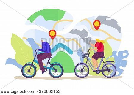 Bicycle Travel With Healthy Woman Man, Urban Lifestyle With Bike Ride Vector Illustration. Flat Coup