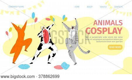 Animals Cosplay Landing Vector Illustration. People Dressed In Colorful Beasts Costumes Depict Cow,