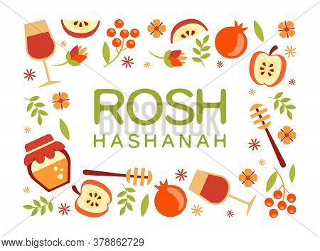 Rosh Hashanah Banner Template, Jewish New Year Holiday Poster, Postcard Or Invitation Card With Symb