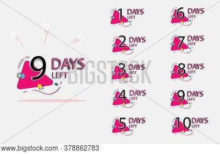 Days Left Badges. Set Of Number Days Left Badge For Sale Or Promotion, Landing Page, Template, Ui, W