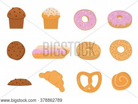 Set Of Cartoon Baking Pastry Products For Bakery Menu, Recipe Book. Baguette, Rye Bread, Whole Wheat