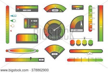 Credit Score Indicators. Customer Satisfaction Indicators With Poor And Good Levels. Speedometer Goo