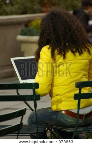 Woman In Park With Computer