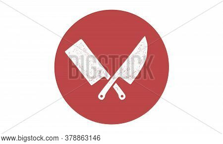 Set Of Restaurant Knives Icons. Silhouette Two Butcher Knives - Cleaver And Chef Knives. Logo Templa