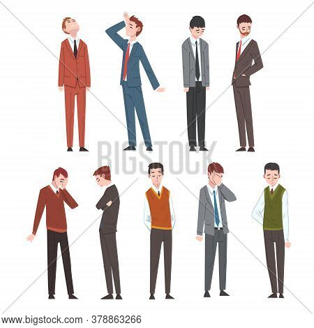Sad Business People Set, Depressed Unhappy Office Workers Characters In Business Clothes, Tired Or E