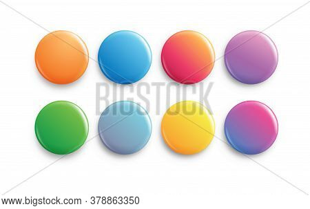 Circle Button Badge. Big Set Of Colorful Glossy Badge Or Button. Round Plastic Pin, Emblem, Voluntee