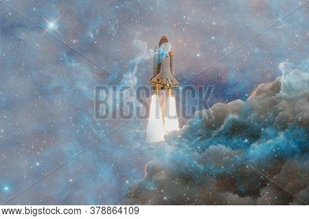Space Shuttle Atlantis. Cosmos Art. Elements Of This Image Furnished By Nasa