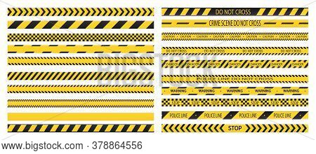 Police Tape. Set Of Danger Caution Tapes. Do Not Cross, Police, Crime Danger Line, Bright Yellow Off
