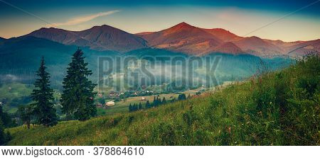 Carpathian Mountains Summer Landscape With Fir Trees, Vintage Hipster Amazing Background. Panoramic