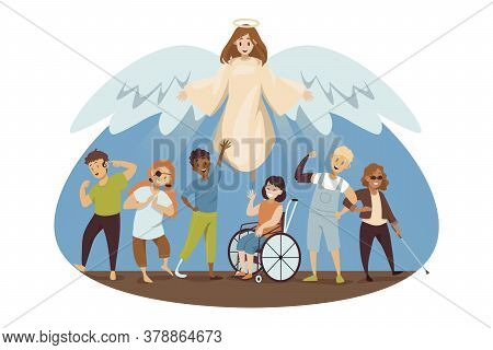 Protection, Disability, Support, Religion, Christianity Concept. Angel Biblical Religious Character