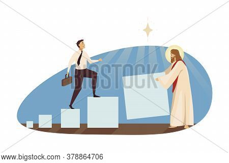 Startup, Success, Religion, Christianity, Help, Business Concept. Jesus Christ Son Of God Helping Ha