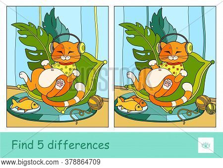 Find Five Differences Quiz Learning Children Game With The Illustrations Of Cute Red Cat In T-shirt,