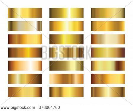 Golden Metallic Gradients. Light, Realistic, Elegant, Shiny, Metallic And Golden Gradient Vector Ill