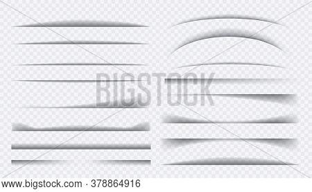 Set Of Black Shadow. Paper Divider Tabs Web Lines Break Frame Realistic Transparent Shadows.