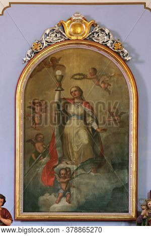 CIRKVENA, CROATIA - JUNE 26, 2013: Altar of St. Barbara in the Church of the Visitation of the Virgin Mary in Cirkvena, Croatia