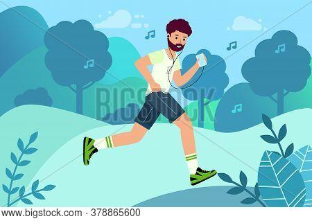 Happy Runner Listens To Music. Outdoor Training, Athletics