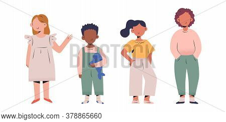 Stylish Toddlers Collection, Little Children, Boys And Girs In Modern Fashionable Clothes Standing I