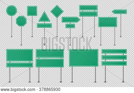Green Traffic Signs. Blank Board With Place For Text, Horizontal Warning Danger Way Destination And