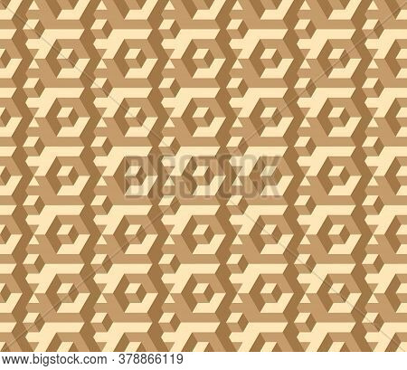 Vector, Seamless Three-d Image In Muted Brown Tones. Labyrinth, Funny Intersections And Transitions