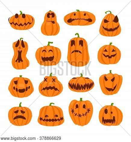 Set Of Halloween Pumpkins Faces. The Main Symbol Of The Happy Halloween Holiday. Orange Pumpkin With