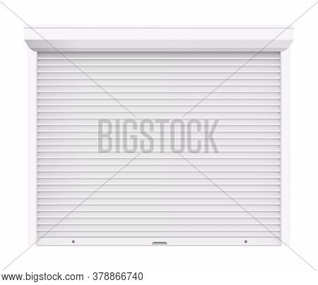 Rolling Shutter Door. Automatic Construction Door, Shutter Entrance Door. Vector Rolling Shutter Ill