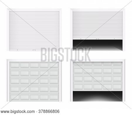 Roller Garage Gate. Secure Roller Shutters Protect System, Contemporary Gate Vector Set. Realistic C