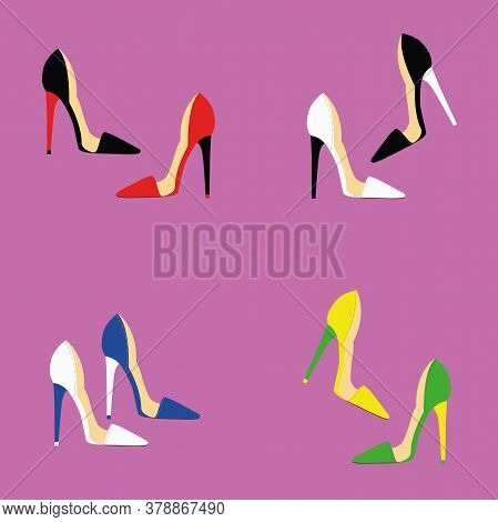 Beautiful Multi-colored Women S Shoes On A Purple Background, Sexy Shoes, Classic. High-heeled Shoes