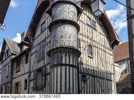 Troyes, France - August 31, 2018:  Ancient Half-timbered Buildings In Troyes. Aube, Champagne-ardenn