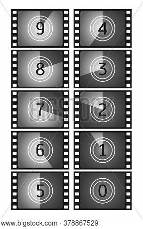 Movie Countdown Frame. Vintage Silent Film And Blank Full Frame Still Photography Film. Old Film Mov