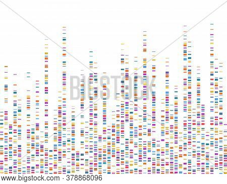 Dna Test Infographic. Dna Genomes Sequencing, Deoxyribonucleic Acid Genetic Map And Genome Sequence