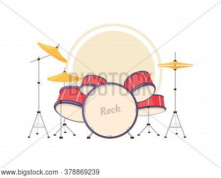 Cartoon Drums. Vector Illustration Of A Drum Kit Isolated On A White Background.