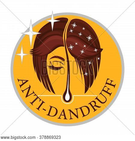 Anti-dandruff Flakes Free Icon. Vector Flat Logo Of A Healthy Hair Follicle, Female Head With And Wi