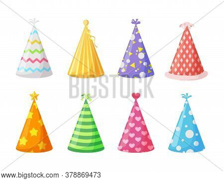Party Caps. Set Of Colorful Cartoon Birthday Hat Cap For Celebration Party. Vector
