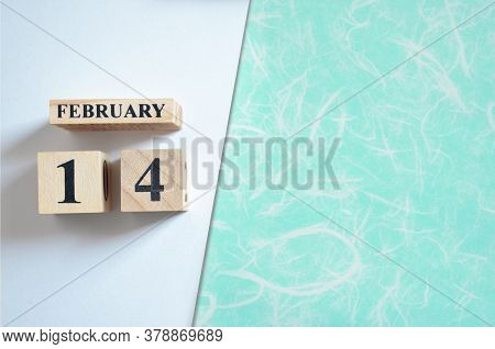 February 14, Empty White - Green Background With Number Cube.