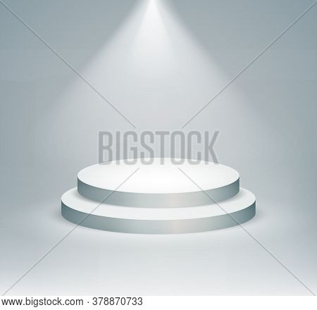 Podium Realistic. Illustration Of Pedestal And Platform, Stand Stage, Cylinder. Vector Illustration.