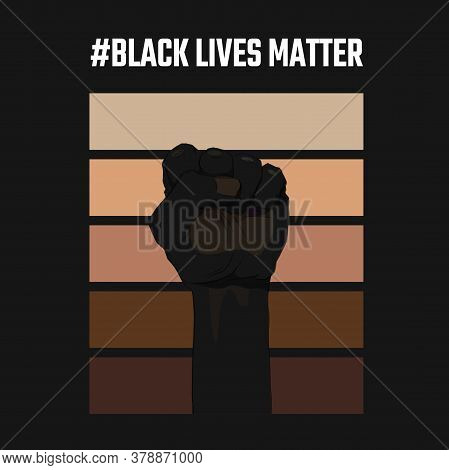 African American Arm Gesture On A Palette Of Skin Shades Background. Black Lives Matter. Sticker, Pa