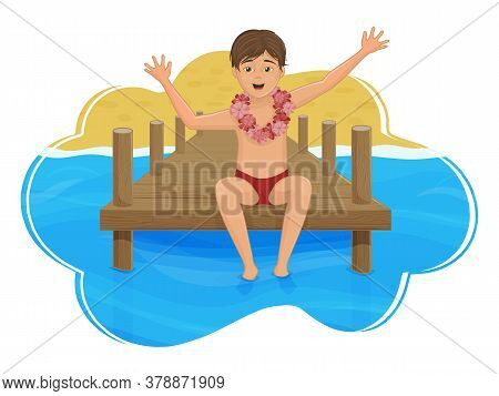 The Boy Is Sitting On The Pier, Against The Background Of The Sea And The Beach. Paradise Island. Ca