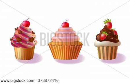 Set Of Cupcakes Isolated On White Background, Decorative Cakes, Decorated Cupcakes Illustration,