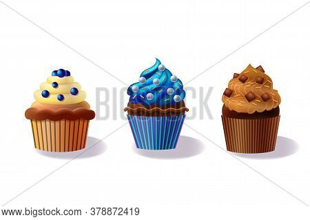 Set Of Cupcakes Isolated On White Background, Decorative Cakes, Decorated Cupcakes Illustration, Cho