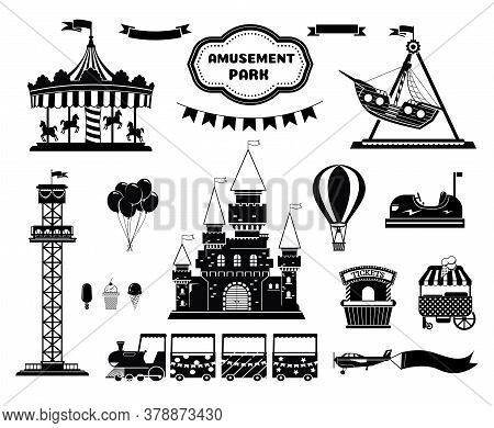 Amusement Park Silhouette Icons Set. Carnival Funfair And Ferris Wheel Emblem, Label, Badge. Amuse C