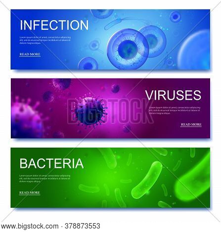 Microbiology Banners. Viruses, Bacteria And Infection 3d Backgrounds. Realistic Vector Cells Of Harm