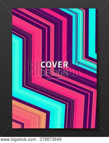 Vector Cover Design Template With Gradient Color Warped Lines. Dynamic Minimalistic Illustration. Mo