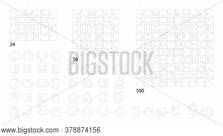 Jigsaw Puzzle Templates. Set Of Puzzle 24, 36, 100 Pieces. Classic Puzzles Game Element Or Mosaic Pa