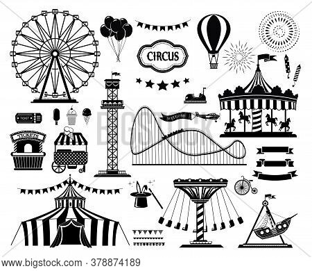 Set Of Silhouette Icons Of Circus, Amusement Park. Carnival Parks Carousel Attraction, Fun Rollercoa