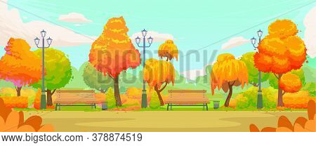 Empty Autumn Park. Cartoon Autumn Park Road With Yellow Trees And Benches. Autumn Panoramic Landscap