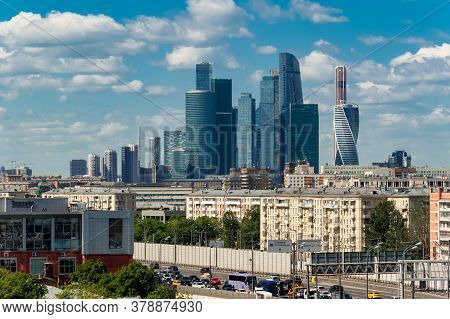 Large Panoramic View Of Moscow City Buildings, A Modern Business Center On The Banks Of The Moscow R